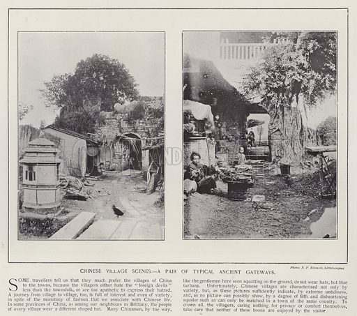 Chinese village scenes, a pair of typical ancient gateways. Illustration for China of Today or The Yellow Peril edited by Charles N Robinson (Navy & Army Illustrated and George Newnes, c 1896).