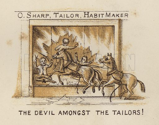 The Devil Amongst The Tailors! Illustration for Road Scrapings, Coaches and Coaching by M E Haworth (Tinsley, 1882).
