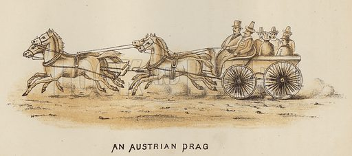 An Austrian Drag. Illustration for Road Scrapings, Coaches and Coaching by M E Haworth (Tinsley, 1882).