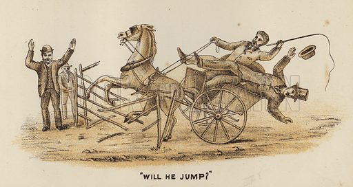 """""""Will He Jump?"""" Illustration for Road Scrapings, Coaches and Coaching by M E Haworth (Tinsley, 1882)."""