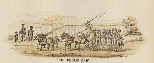 """""""The Public Car."""" Illustration for Road Scrapings, Coaches and Coaching by M E Haworth (Tinsley, 1882)."""