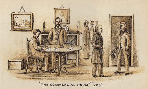 """The Commercial Room?"" ""Yes."" Illustration for Road Scrapings, Coaches and Coaching by M E Haworth (Tinsley, 1882)."