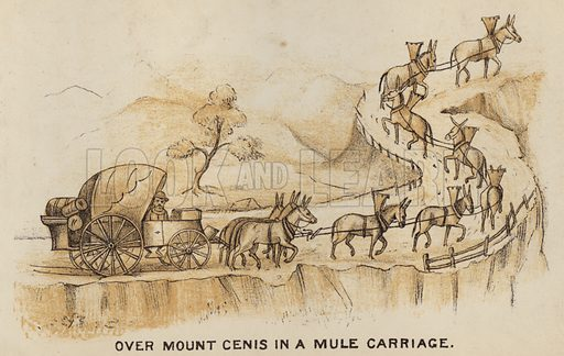 Over Mount Cenis in a Mule Carriage. Illustration for Road Scrapings, Coaches and Coaching by M E Haworth (Tinsley, 1882).