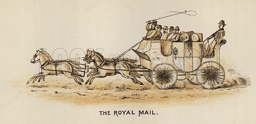 The Royal Mail. Illustration for Road Scrapings, Coaches and Coaching by M E Haworth (Tinsley, 1882).