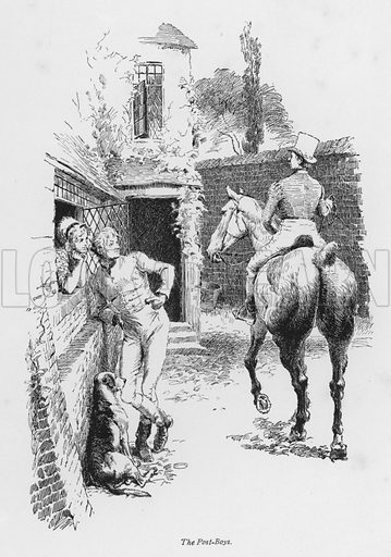 The Post-Boys. Illustration for Coaching Days and Coaching Ways by W Outram Tristram with illustrations by Hugh Thomson (1860-1920) and Herbert Railton (1857-1910) (Macmillan, 1901).