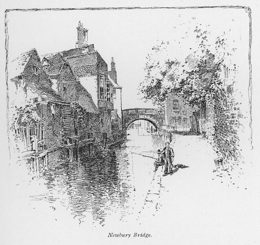 Newbury Bridge. Illustration for Coaching Days and Coaching Ways by W Outram Tristram with illustrations by Hugh Thomson (1860-1920) and Herbert Railton (1857-1910) (Macmillan, 1901).