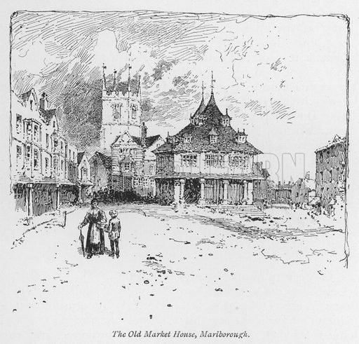 The Old Market House, Marlborough. Illustration for Coaching Days and Coaching Ways by W Outram Tristram with illustrations by Hugh Thomson (1860-1920) and Herbert Railton (1857-1910) (Macmillan, 1901).