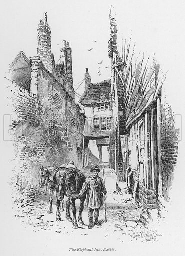 The Elephant Inn, Exeter. Illustration for Coaching Days and Coaching Ways by W Outram Tristram with illustrations by Hugh Thomson (1860-1920) and Herbert Railton (1857-1910) (Macmillan, 1901).