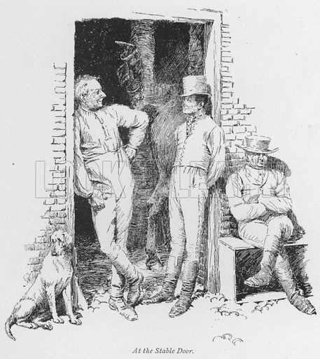 At the Stable Door. Illustration for Coaching Days and Coaching Ways by W Outram Tristram with illustrations by Hugh Thomson (1860-1920) and Herbert Railton (1857-1910) (Macmillan, 1901).