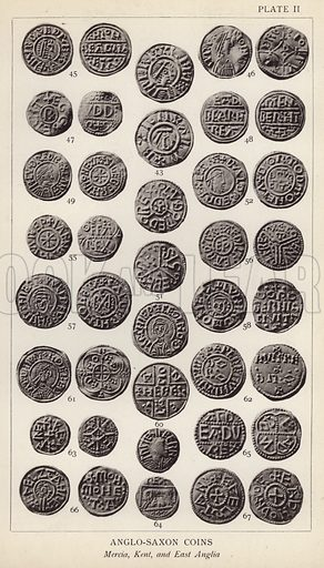 Anglo Saxon Coins, Mercia, Kent, and East Anglia. Illustration for Handbook of the Coins of Great Britain and Ireland in the British Museum by Herbert Grueber (1899).  Beautifully printed, with no screen.