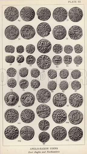 Anglo Saxon Coins, East Anglia and Northumbria. Illustration for Handbook of the Coins of Great Britain and Ireland in the British Museum by Herbert Grueber (1899).  Beautifully printed, with no screen.