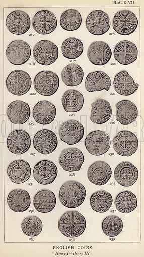 English Coins, Henry I, Henry III. Illustration for Handbook of the Coins of Great Britain and Ireland in the British Museum by Herbert Grueber (1899).  Beautifully printed, with no screen.