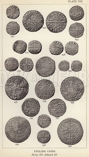 English Coins, Henry III, Edward III. Illustration for Handbook of the Coins of Great Britain and Ireland in the British Museum by Herbert Grueber (1899).  Beautifully printed, with no screen.