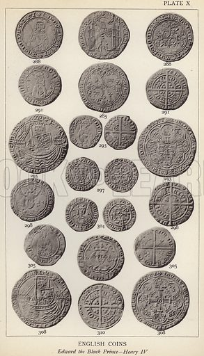 English Coins, Edward the Black Prince, Henry IV. Illustration for Handbook of the Coins of Great Britain and Ireland in the British Museum by Herbert Grueber (1899).  Beautifully printed, with no screen.