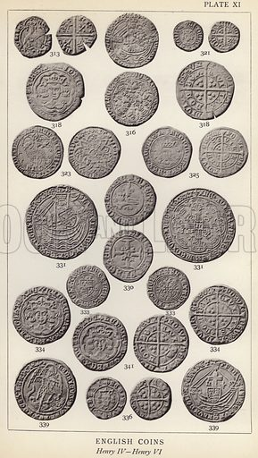 English Coins, Henry IV, Henry VI. Illustration for Handbook of the Coins of Great Britain and Ireland in the British Museum by Herbert Grueber (1899).  Beautifully printed, with no screen.