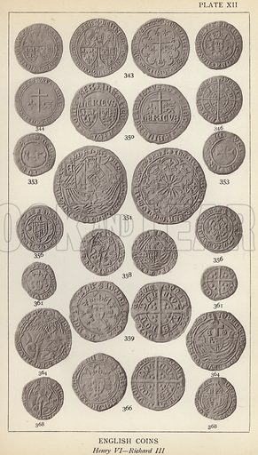 English Coins, Henry VI, Richard III. Illustration for Handbook of the Coins of Great Britain and Ireland in the British Museum by Herbert Grueber (1899).  Beautifully printed, with no screen.