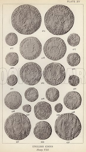 English Coins, Henry VIII. Illustration for Handbook of the Coins of Great Britain and Ireland in the British Museum by Herbert Grueber (1899).  Beautifully printed, with no screen.