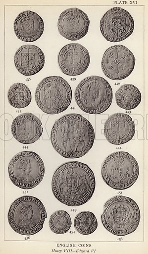English Coins, Henry VIII, Edward VI. Illustration for Handbook of the Coins of Great Britain and Ireland in the British Museum by Herbert Grueber (1899).  Beautifully printed, with no screen.