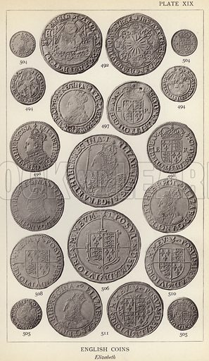 English Coins, Elizabeth. Illustration for Handbook of the Coins of Great Britain and Ireland in the British Museum by Herbert Grueber (1899).  Beautifully printed, with no screen.