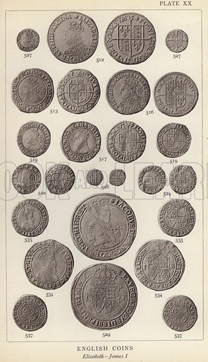 English Coins, Elizabeth, James I. Illustration for Handbook of the Coins of Great Britain and Ireland in the British Museum by Herbert Grueber (1899).  Beautifully printed, with no screen.