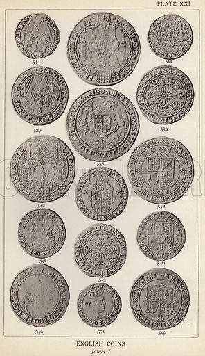 English Coins, James I. Illustration for Handbook of the Coins of Great Britain and Ireland in the British Museum by Herbert Grueber (1899).  Beautifully printed, with no screen.