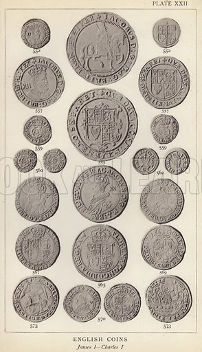 English Coins, James I, Charles I. Illustration for Handbook of the Coins of Great Britain and Ireland in the British Museum by Herbert Grueber (1899).  Beautifully printed, with no screen.