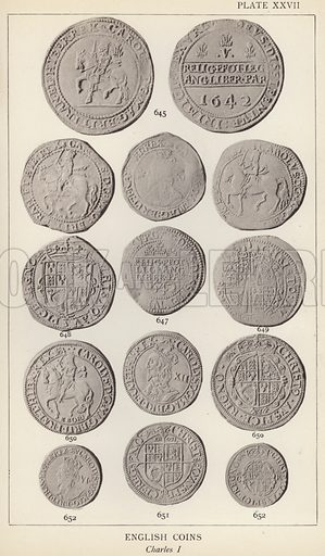 English Coins, Charles I. Illustration for Handbook of the Coins of Great Britain and Ireland in the British Museum by Herbert Grueber (1899).  Beautifully printed, with no screen.