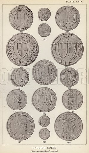 English Coins, Commonwealth, Cromwell. Illustration for Handbook of the Coins of Great Britain and Ireland in the British Museum by Herbert Grueber (1899).  Beautifully printed, with no screen.