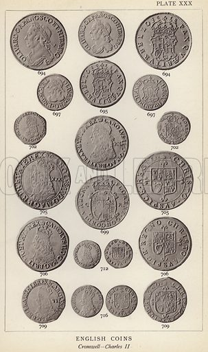 English Coins, Cromwell, Charles II. Illustration for Handbook of the Coins of Great Britain and Ireland in the British Museum by Herbert Grueber (1899).  Beautifully printed, with no screen.