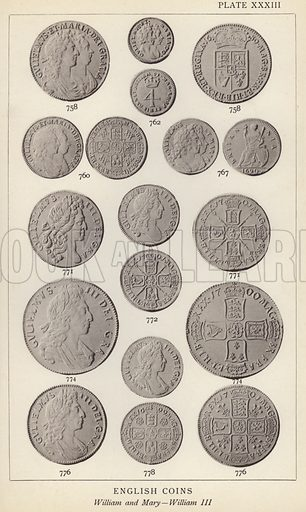 English Coins, William and Mary, Wlliam III. Illustration for Handbook of the Coins of Great Britain and Ireland in the British Museum by Herbert Grueber (1899).  Beautifully printed, with no screen.