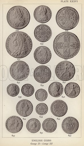 English Coins, George II, George III. Illustration for Handbook of the Coins of Great Britain and Ireland in the British Museum by Herbert Grueber (1899).  Beautifully printed, with no screen.
