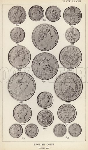 English Coins, George III. Illustration for Handbook of the Coins of Great Britain and Ireland in the British Museum by Herbert Grueber (1899).  Beautifully printed, with no screen.