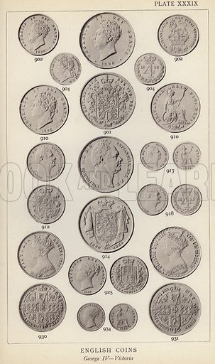 English Coins, George IV, Victoria. Illustration for Handbook of the Coins of Great Britain and Ireland in the British Museum by Herbert Grueber (1899).  Beautifully printed, with no screen.
