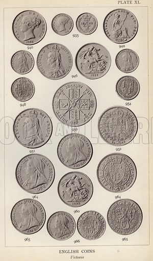 English Coins, Victoria. Illustration for Handbook of the Coins of Great Britain and Ireland in the British Museum by Herbert Grueber (1899).  Beautifully printed, with no screen.