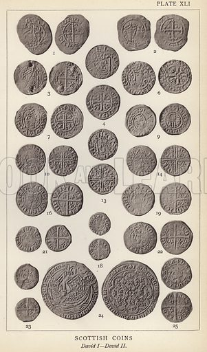 Scottish Coins, David I, David II. Illustration for Handbook of the Coins of Great Britain and Ireland in the British Museum by Herbert Grueber (1899).  Beautifully printed, with no screen.