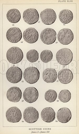 Scottish Coins, James I, James III. Illustration for Handbook of the Coins of Great Britain and Ireland in the British Museum by Herbert Grueber (1899).  Beautifully printed, with no screen.