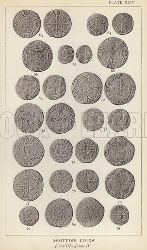 Scottish Coins, James III, James IV. Illustration for Handbook of the Coins of Great Britain and Ireland in the British Museum by Herbert Grueber (1899).  Beautifully printed, with no screen.