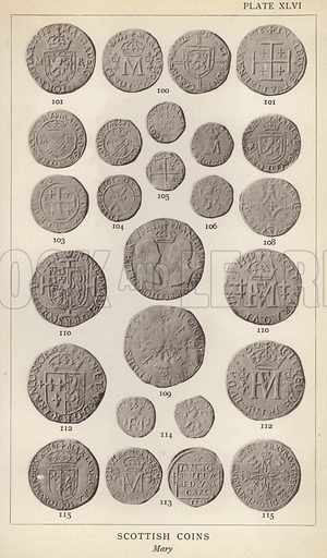 Scottish Coins, Mary. Illustration for Handbook of the Coins of Great Britain and Ireland in the British Museum by Herbert Grueber (1899).  Beautifully printed, with no screen.
