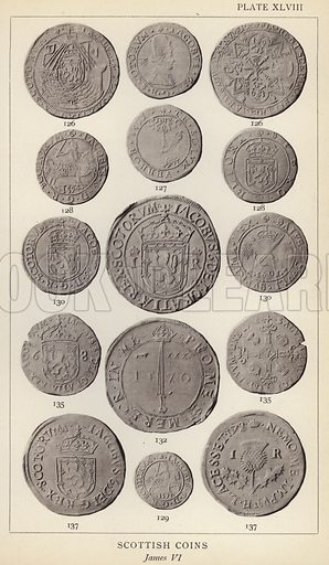 Scottish Coins, James VI. Illustration for Handbook of the Coins of Great Britain and Ireland in the British Museum by Herbert Grueber (1899).  Beautifully printed, with no screen.