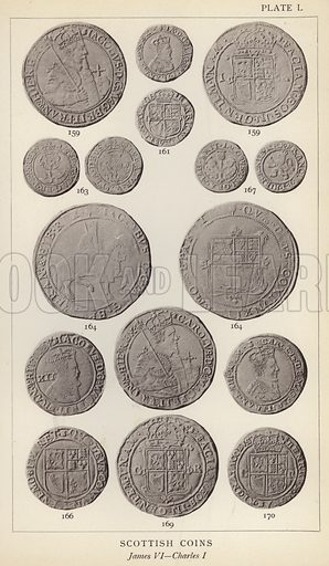 Scottish Coins, James VI, Charles I. Illustration for Handbook of the Coins of Great Britain and Ireland in the British Museum by Herbert Grueber (1899).  Beautifully printed, with no screen.