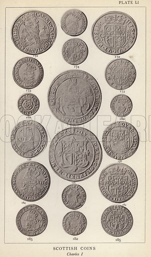 Scottish Coins, Charles I. Illustration for Handbook of the Coins of Great Britain and Ireland in the British Museum by Herbert Grueber (1899).  Beautifully printed, with no screen.