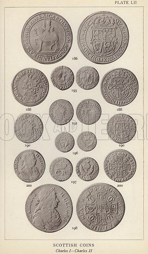 Scottish Coins, Charles I, Charles II. Illustration for Handbook of the Coins of Great Britain and Ireland in the British Museum by Herbert Grueber (1899).  Beautifully printed, with no screen.