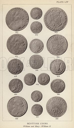 Scottish Coins, William and Mary, William II. Illustration for Handbook of the Coins of Great Britain and Ireland in the British Museum by Herbert Grueber (1899).  Beautifully printed, with no screen.