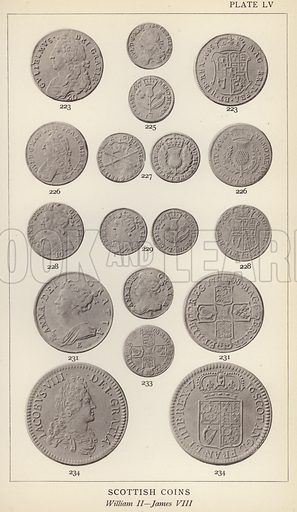Scottish Coins, William II, James VIII. Illustration for Handbook of the Coins of Great Britain and Ireland in the British Museum by Herbert Grueber (1899).  Beautifully printed, with no screen.