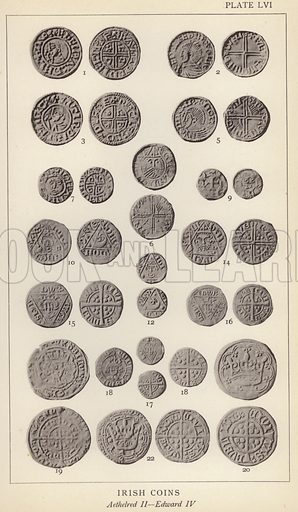 Irish Coins, Aethelred II, Edward IV. Illustration for Handbook of the Coins of Great Britain and Ireland in the British Museum by Herbert Grueber (1899).  Beautifully printed, with no screen.