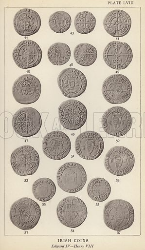 Irish Coins, Edward IV, Henry VIII. Illustration for Handbook of the Coins of Great Britain and Ireland in the British Museum by Herbert Grueber (1899).  Beautifully printed, with no screen.