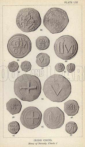 Irish Coins, Money of Necessity, Charles I. Illustration for Handbook of the Coins of Great Britain and Ireland in the British Museum by Herbert Grueber (1899).  Beautifully printed, with no screen.