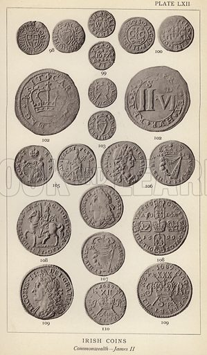 Irish Coins, Commonwealth, James II. Illustration for Handbook of the Coins of Great Britain and Ireland in the British Museum by Herbert Grueber (1899).  Beautifully printed, with no screen.
