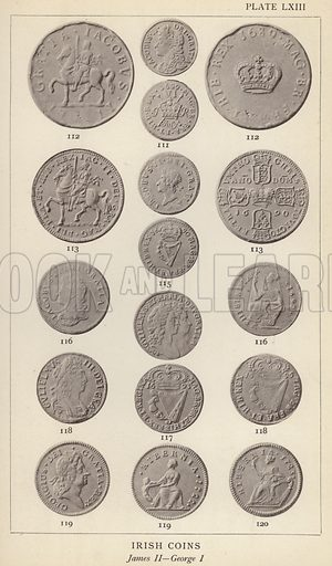 Irish Coins, James II, George I. Illustration for Handbook of the Coins of Great Britain and Ireland in the British Museum by Herbert Grueber (1899).  Beautifully printed, with no screen.