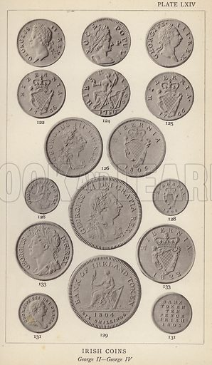 Irish Coins, George II, George IV. Illustration for Handbook of the Coins of Great Britain and Ireland in the British Museum by Herbert Grueber (1899).  Beautifully printed, with no screen.